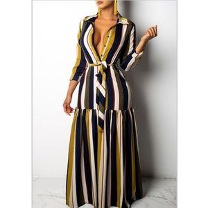 Dresses & Skirts - Shirt Dress Dynamic Diva Striped Drop Waist